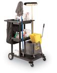 Easy Rolling Janitorial Cart with Nylon Bag